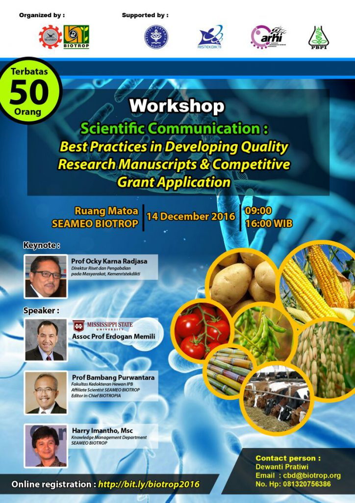 Workshop Scientific Communication: Best Practices in Developing Quality Research Manuscript  and Competitive Grant Application