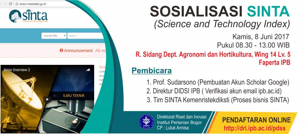 Sosialisasi SINTA (Science and Technology Index)