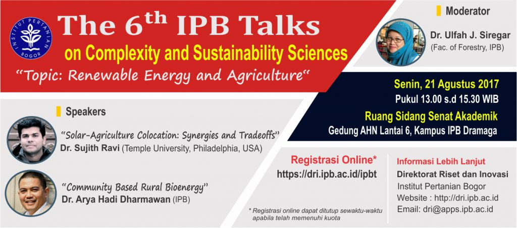 The 6th IPB Talks On Complexity And Sustainability Sciences